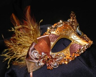 Bronze and Gold Masquerade Feather Mask