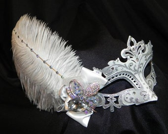 White and Silver Capri Feather Mask - Made to Order