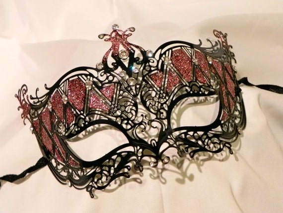 Black and Red (or other color, your choice) Metallic Masquerade Mask