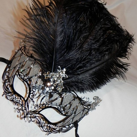 Metallic and Feather Masquerade Mask