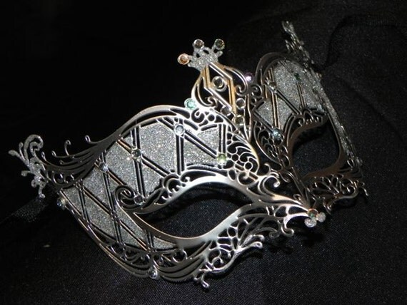 Silver or Gold and Rhinestone Metallic Masquerade Mask