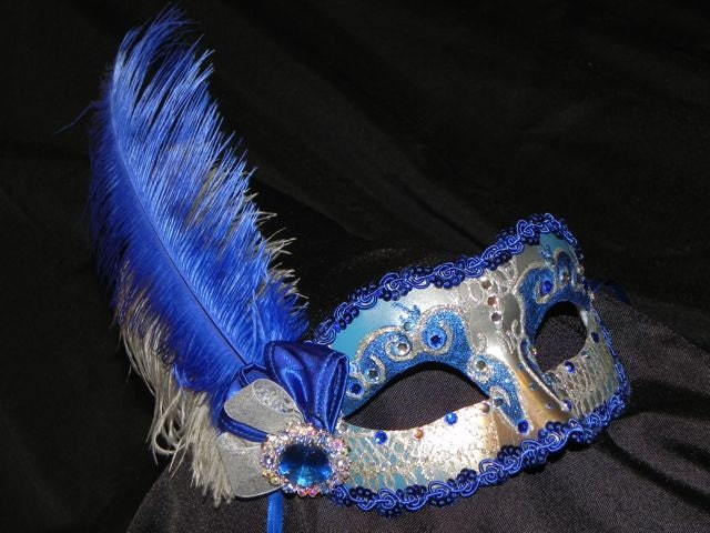Royal Blue and Silver Feather Masquerade Mask