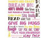 Playroom Rules - Pink, Brown and Yellow on White - 8x10""