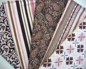 Pink and Chocolate Cloth Napkins set