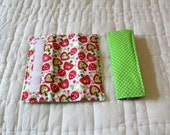 Reversible Car Seat Straps Cover - Riley Balke Hoo's in the Forest -Strawberry Apple