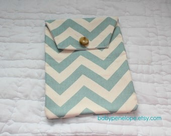 Diaper and Wipes Case Holder - Chevron Blue and Cream