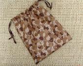 "Drawstring bag - 8.5"" x 10"" - Brown Circles Cotton bag"