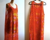 the solar system in bloom / bright & bold oversized SHEER MAXI dress (s - m - l - xl)