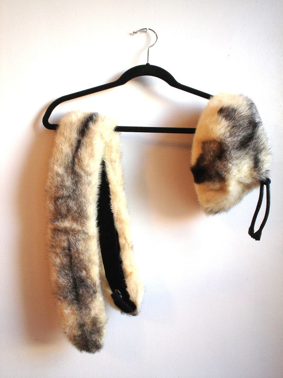 1950s - 1960s Cream and Black FUR Hat and Stole Set