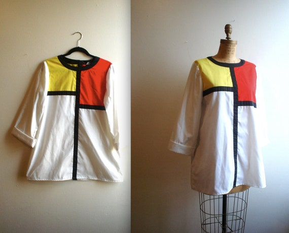 vintage 1980s MONDRIAN inspired avant garde Color Block tunic shift mini dress / N.R.1 by Ned Gould