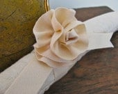 Padded Hanger, Quilted Natural with Handmade Organic Satin Rosette