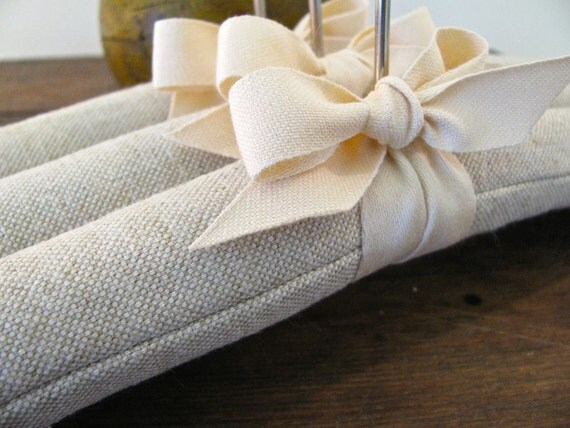 Linen Padded Hangers, Handmade Natural Homespun Linen Covers with Organic Cotton Ribbon Accent (Set of 3)