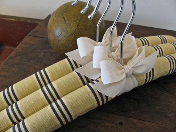 Yellow and Navy English Morie Stripe Padded Hangers with Natural Organic Ribbon Accent (Set of 3)