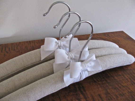 Natural Linen Padded Hangers with White Organic Cotton Ribbon Accent (Set of 3)