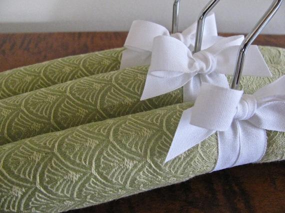 Infant Padded Hangers, Mint Scallop Jacquard Pattern with White Organic Satin Ribbon (Set of 3)