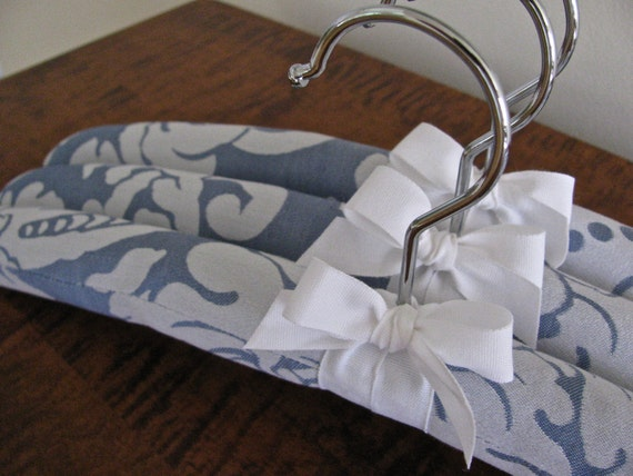 Light Blue and White Damask Padded Hangers with White Organic Ribbon Accent (Set of 3)