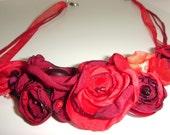 crimson red flower necklace