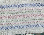 Vintage Smocked Smocking Trim Pastels Pink Green Blue and White