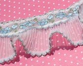 Darling Vintage Pleated Ruffle Lace Trim Ivory with Light Blue