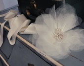 Tulle flower and crystal bridal sash
