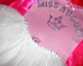 Miss April May June July August Boutique Misses Toddler Crystal Rhinestone Tiara Crown Miss Birthday Month Tank or Shirt