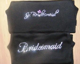 Junior Bridesmaid Crystal Rhinestone T-Shirt or Tank Top Bride and Bridal Party Gifts BLING