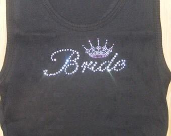 shower bridal party gift ideas Princess Theme Wedding Bride Crystal Rhinestone Tank Shirt