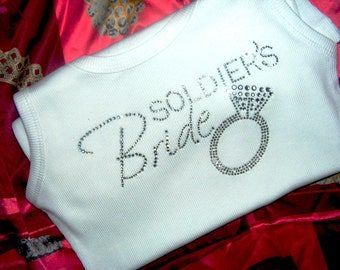 Soldier's Bride Tank Top. Marine's Bride. Army Wife Shirt. Navy Bride. Military Bride. Wedding Shirt. Bride to Be Gift. Wedding Shower Gift.