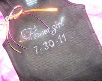 Flowergirl Tank Top- Personalized with wedding date - Flower Girl Keepsake Gift Ideas