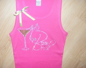 Lime Apple Green and Hot pink Wedding Ideas The Bride Bachelorette Party Honeymoon Just Married Crystal Rhinestone Tank Shirt