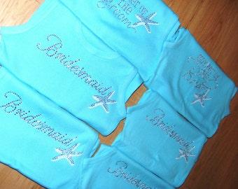 9 starfish bridesmaid tank tops. Beach wedding theme. Destination wedding shirts. Beach bride to be. Wedding party Shirts. Starfish theme.