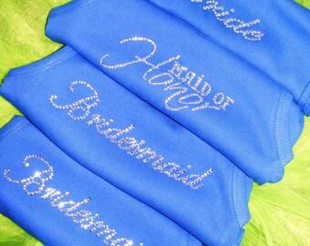 Royal Blue Wedding Theme Ideas Bride Bridesmaid Crystal Rhinestone Jeweled Bling Tank Top Shirt Bridesmaid Gift Ideas