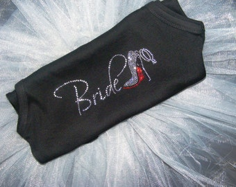 Bride Bachelorette Party Tank Top Tee Shirt: Rhinestone bling, red, purple, black, white, blue, stellito shoe, bridesmaid, bridal party