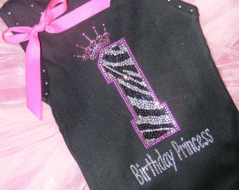 Personalized 1st birthday zebra hot pink Photo Prop Boutique Birthday Princess girls toddler embroidered rhinestone rhinestud tank top shirt