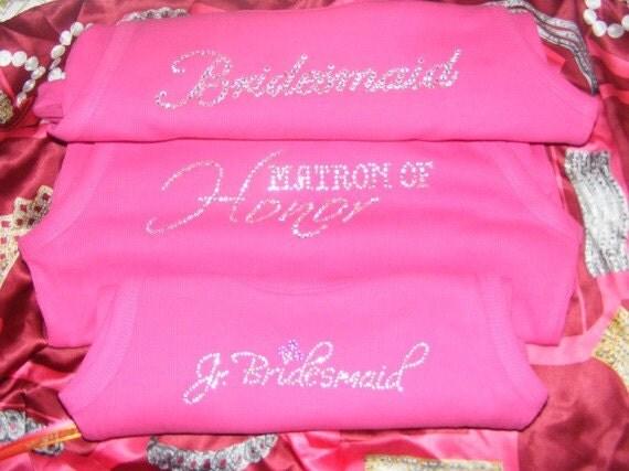 SAMPLE SALE hot pink tank top Bridesmaid Gift Crystal Rhinestone Tank Shirt Shirt Bachelorette Party Shirt XL