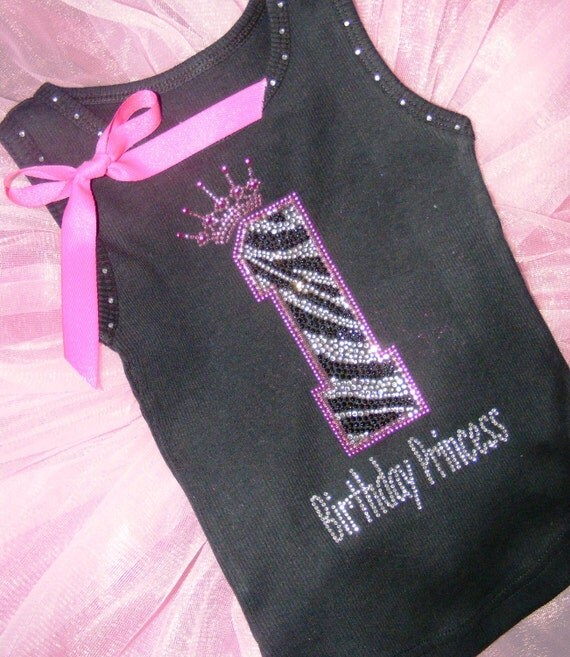 Personalized 1st birthday zebra hot pink Photo Prop Boutique Birthday Princess girls toddler embroidered rhinestone rhinestud tank top shirt