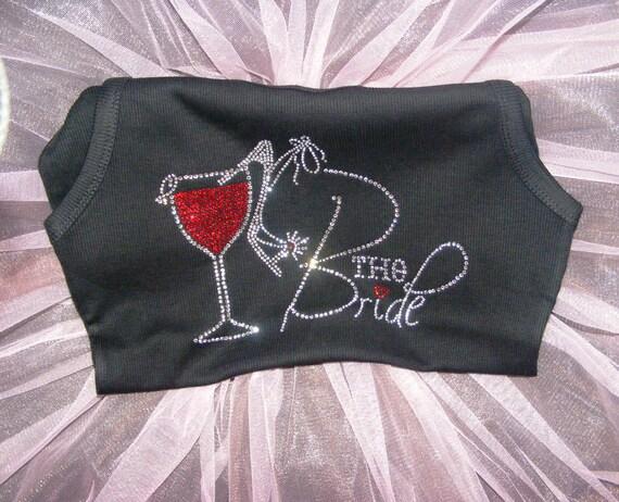 Bride Tank Top - Black Tank Top - Red Wine and High heel Shoe