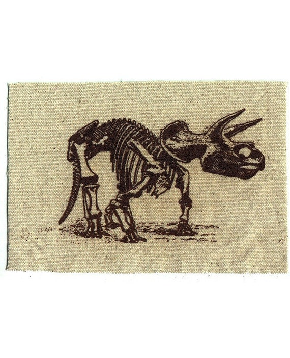 Triceratops Dinosaur Applique Patch screen printed on canvas