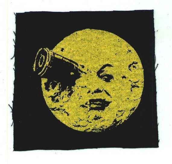 Moonface injury steampunk canvas patch in Yellow