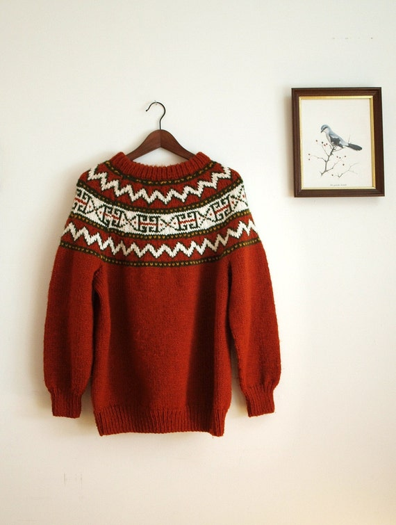 Vintage Rust Knit Winter Sweater M-L