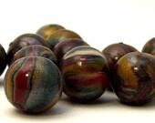 12 Handmade Polymer Clay Beads - chic swirl