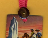 Bookmark DESERT MESA RIDERS Handmade from Vintage Playing Card & Button with Grosgrain Ribbon