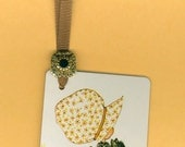 LI'L HOLLY HOBBIE Bookmark from Vintage Playing Card Handmade with Button & Grosgrain Ribbon