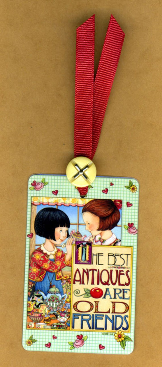 Mary Engelbreit OLD FRIENDS Playing Card Bookmark with Vintage Button & Grosgrain Ribbon Handmade