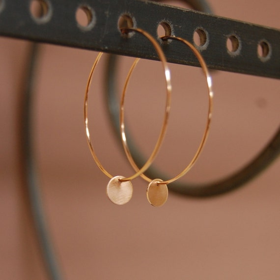 Solid 14K Rose Gold Hoop Earrings with Disc Charms