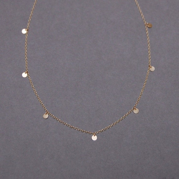 Solid 14K Gold Eleven Tiny 3.75mm Disc Necklace