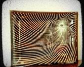 Vintage Smoky Black w/ White Spiral Glass Tray