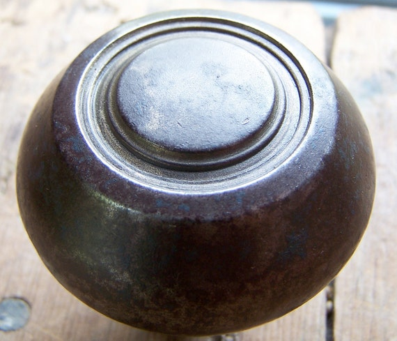Antique or Vintage Wrought Steel Flared Concentric Circle Door Knob 1910-1930's