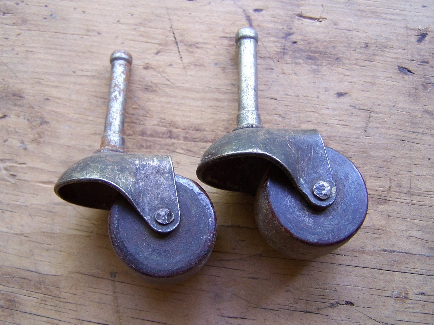 2 Two Antique Furniture Casters Wooden Wheel 1 5 16 By