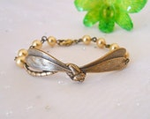 Free Shipping - Dragonfly bracelet, dragonfly, brass dragonfly, golden pearls